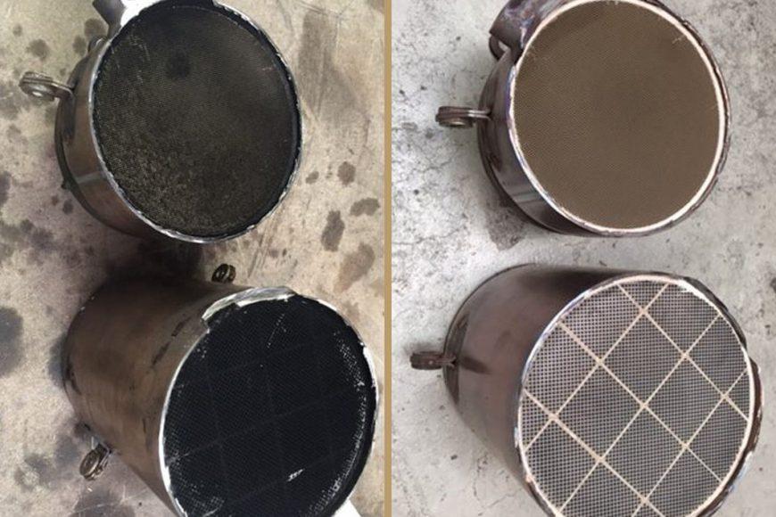 Filtr DPF przed i po czyszczeniu